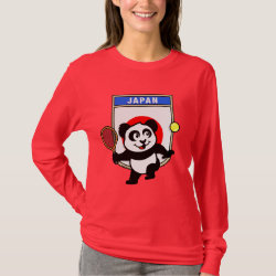 Women's Basic Long Sleeve T-Shirt with Japanese Tennis Panda design