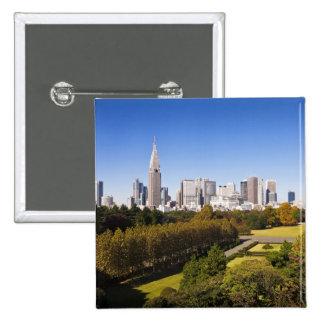 Japan. Tokyo. Shinjuku District Skyline and Pinback Buttons