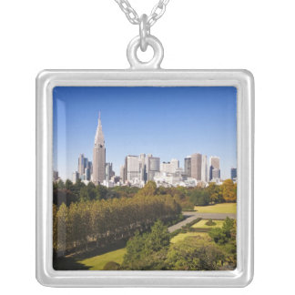 Japan. Tokyo. Shinjuku District Skyline and Silver Plated Necklace