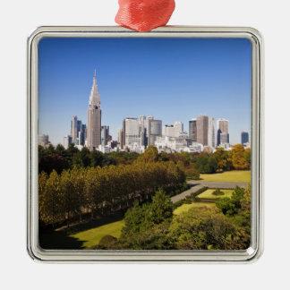 Japan. Tokyo. Shinjuku District Skyline and Square Metal Christmas Ornament