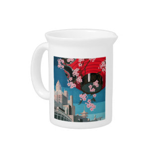 Japan Tokyo Vintage Japanese Travel Poster Drink Pitcher