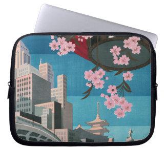 Japan Tokyo Vintage Japanese Travel Poster Laptop Sleeve