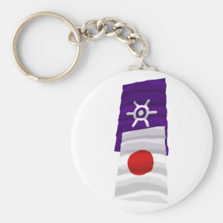 Japan & Tokyo Waving Flags Basic Round Button Keychain
