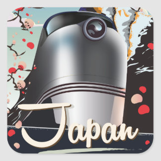 Japan Train vintage travel poster. Square Sticker