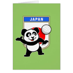 Note Card with Japanese Volleyball Panda design