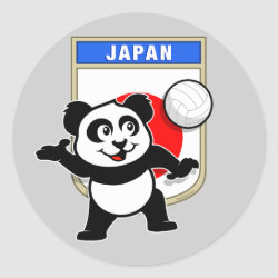Round Sticker with Japanese Volleyball Panda design