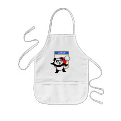 Kid's Apron with Japanese Volleyball Panda design
