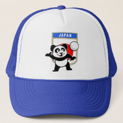 Trucker Hat with Japanese Volleyball Panda design