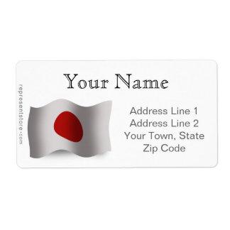 Japan Waving Flag Shipping Label