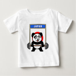 Baby Fine Jersey T-Shirt with Japanese Weightlifting Panda design