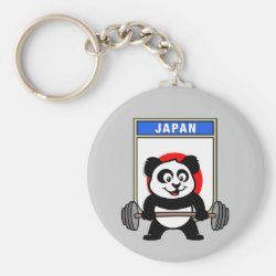 Basic Button Keychain with Japanese Weightlifting Panda design