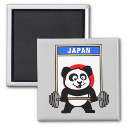 Square Magnet with Japanese Weightlifting Panda design
