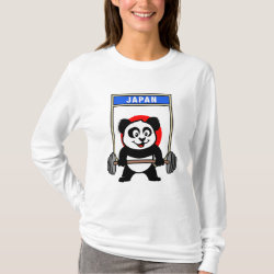Women's Basic Long Sleeve T-Shirt with Japanese Weightlifting Panda design