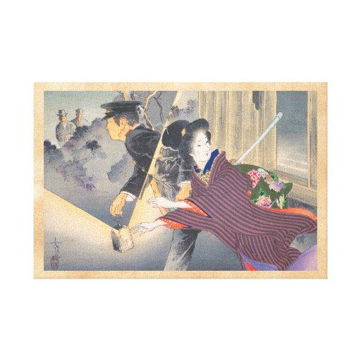Japanese, active turn of 20th century Hamada Josen Canvas Print
