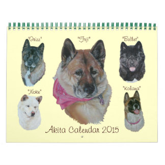 japanese akita dog portraits realist art wall calendar