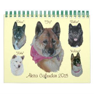 japanese akita dog portraits realist art calendar