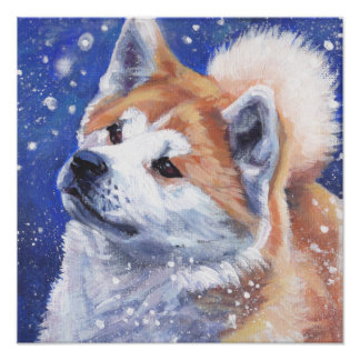 Japanese Akita Fine Art Dog Painting Poster