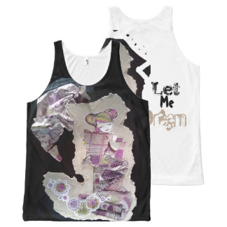 japanese altered art purple and black tank top