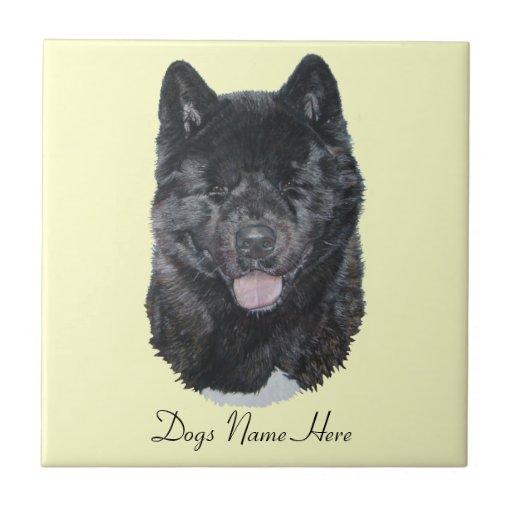 Japanese/American black brindle akita dog art Tiles