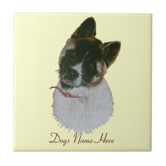 Japanese/American cute akita puppy dog art tile