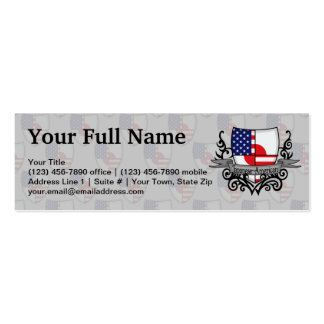 Japanese-American Shield Flag Double-Sided Mini Business Cards (Pack Of 20)