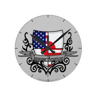 Japanese-American Shield Flag Round Wallclocks