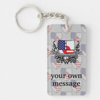 Japanese-American Shield Flag Double-Sided Rectangular Acrylic Keychain