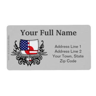 Japanese-American Shield Flag Shipping Label