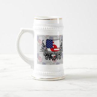 Japanese-American Shield Flag 18 Oz Beer Stein