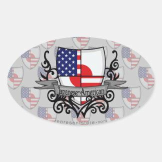 Japanese-American Shield Flag Oval Sticker