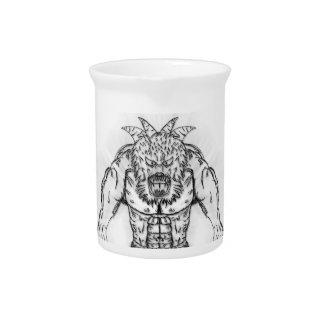 Japanese Ancient Beast Tattoo Art Beverage Pitchers