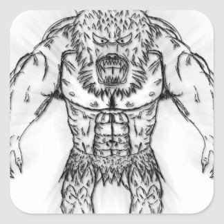 Japanese Ancient Beast Tattoo Art Square Sticker