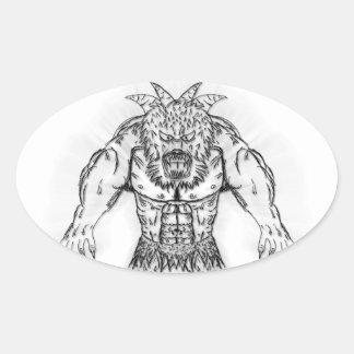 Japanese Ancient Beast Tattoo Art Oval Sticker