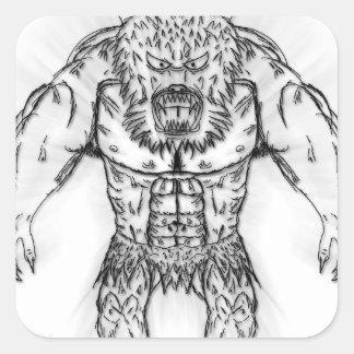 Japanese Ancient Beast Tattoo Art Sticker