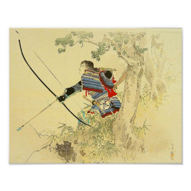 Japanese Art A Samurai With A Longbow And Arrows Poster Zazzle Com