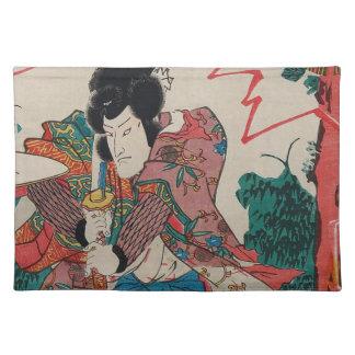Japanese Art - A Samurai With Swor In Kabuki Show Placemat