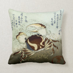 Japanese Art Crab Throw Pillow