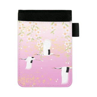 Japanese Art Cranes & Flowers Pink Black White Mini Padfolio
