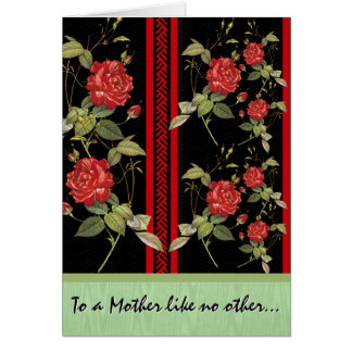 Japanese Art Deco Roses (Personalized) Greeting Card