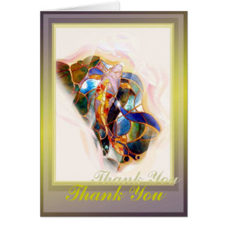Japanese Art Glass Koi Thank You Greeting Card