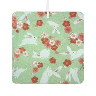 Japanese Art: Green Sakuras and Rabbits Air Freshener
