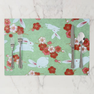 Japanese Art: Green Sakuras & Rabbits Placemats