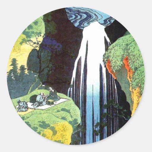 Japanese Art Hokusai Amida Waterfall Fine Art Classic Round Sticker