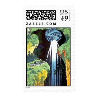 Japanese Art Hokusai Amida Waterfall Fine Art Postage Stamps
