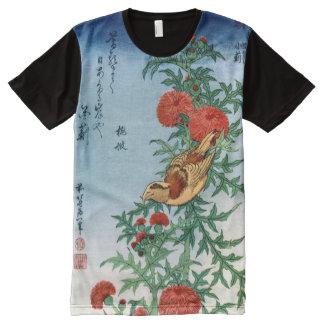 Japanese Art Hokusai Bird & Flowers Fine Art All-Over Print T-shirt