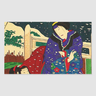 Japanese Art - Painting Of A Woman In The Snow Rectangular Sticker