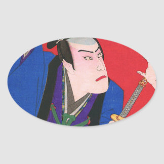 Japanese Art - Painting Of An Angry Samurai Oval Sticker