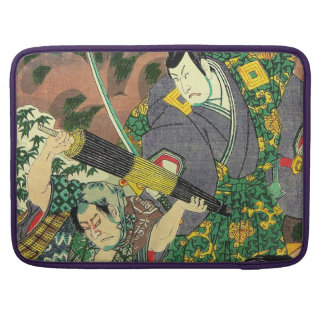 Japanese Art - Painting Of Two Samurais Fighting Sleeves For MacBook Pro
