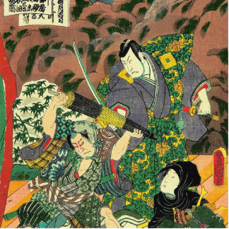 Japanese Art - Painting Of Two Samurais Fighting Statuette