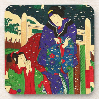 Japanese Art - Painting Of Two Women In The Snow Coaster